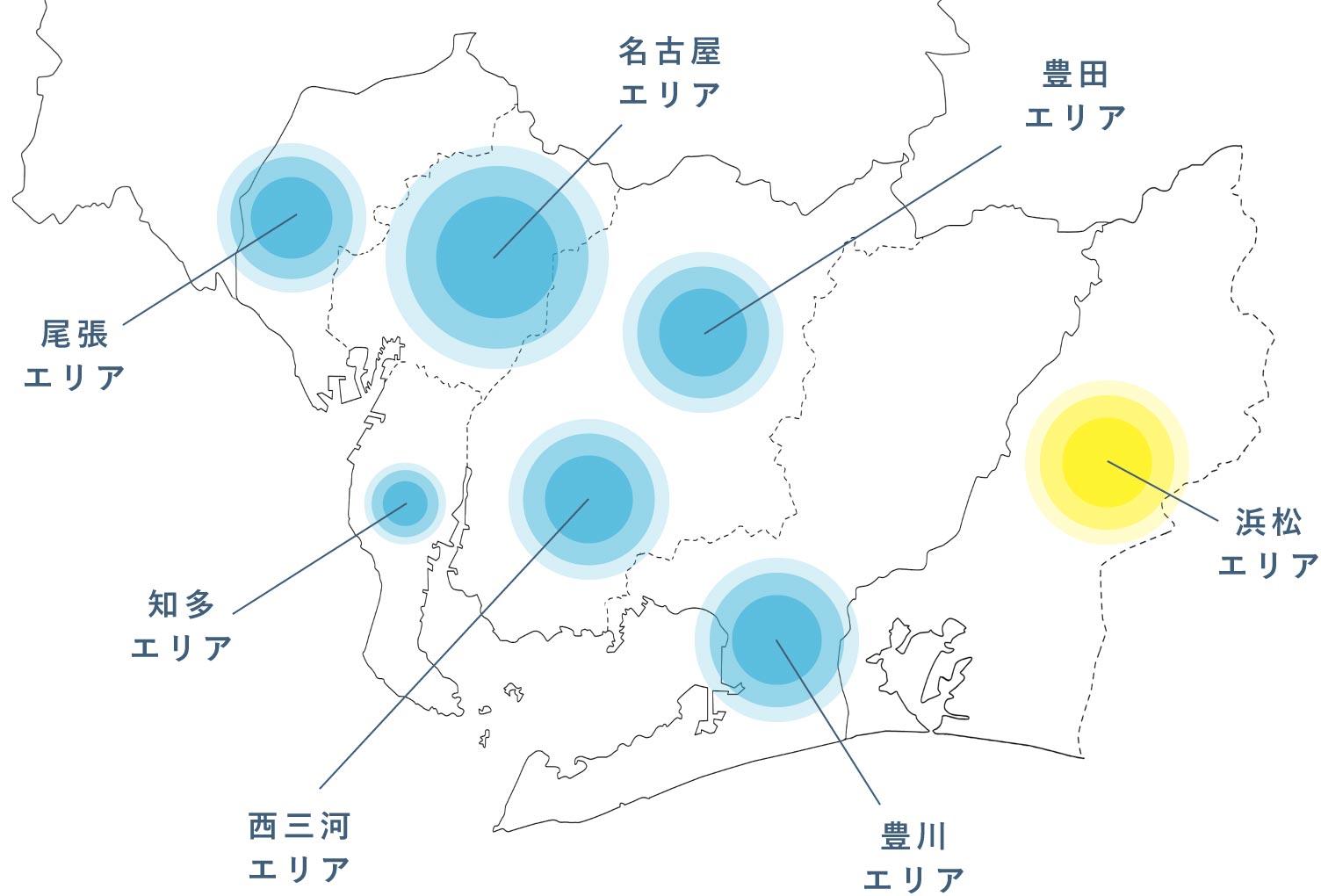 愛知県のエリア別実績戸数